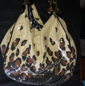 Betsey Johnson sparkle/cheetah print handbag large